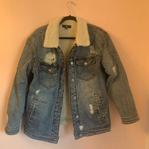 Missguided fur lined Distressed denim jacket